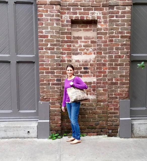 Charleston Burlap Tote Bag - handmade Plymouth MI - Lina and Vi