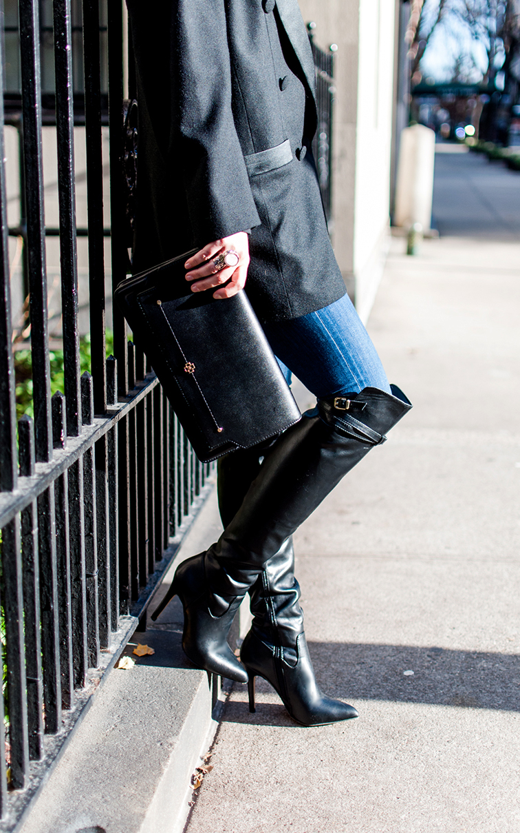 Joseph Altuzarra x Target over the knee boots, Ann Taylor clutch, Saint Laurent Arty ring