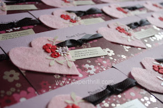 Pink heart wedding invitation card
