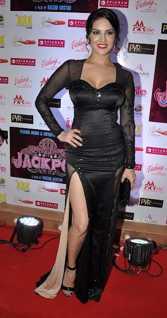 Sunny Leone Hot Skin Show In a Black See-through Dress At PVR Cinemas in Juhu, Mumbai