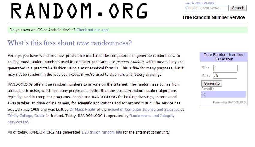 random number generator 1-25