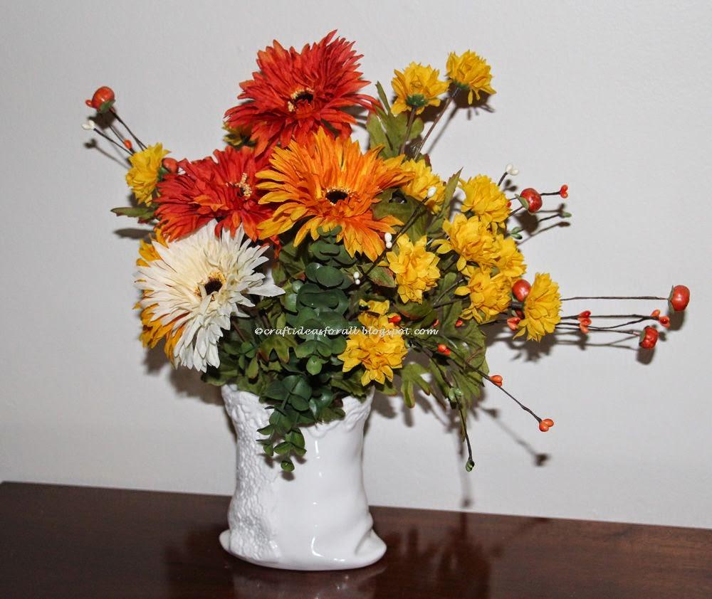 Craft ideas for all handmade fall silk flowers for Fall fake flower arrangement ideas