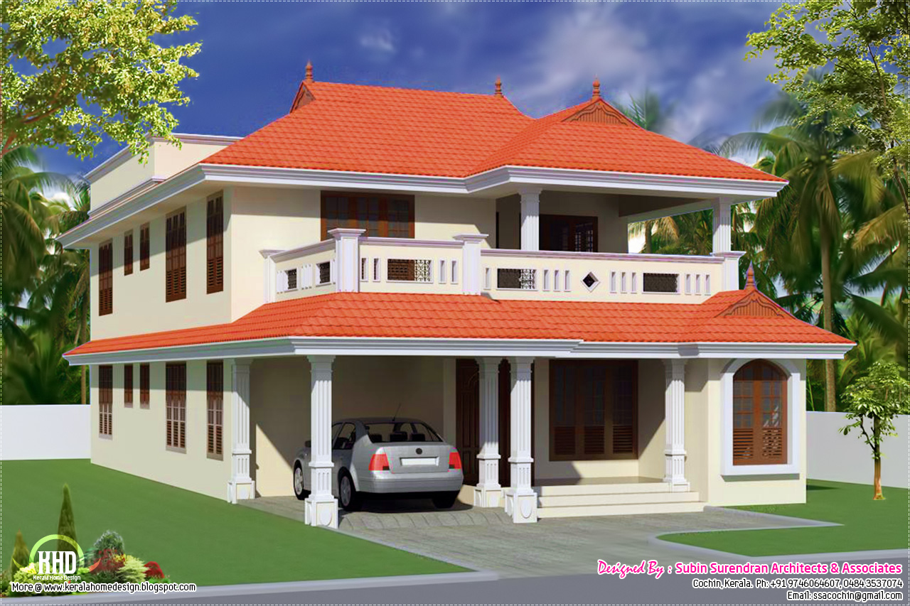 5 bedroom villa elevation design kerala home for Kerala style villa plans