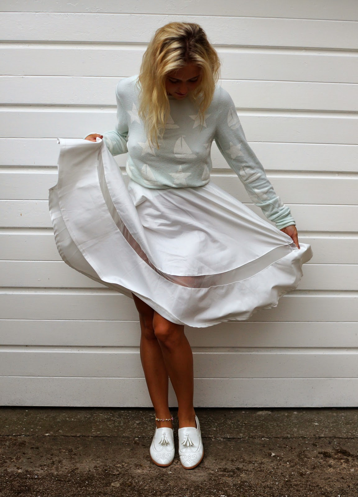 Scuba Volume Midi Skirt with Sheer Insert lavish alice