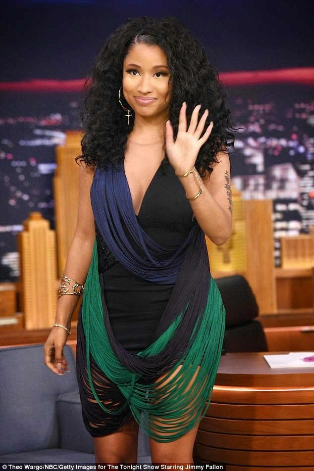 Nicki Minajs Shredded Looking Mini Dress With Jimmy Fallon