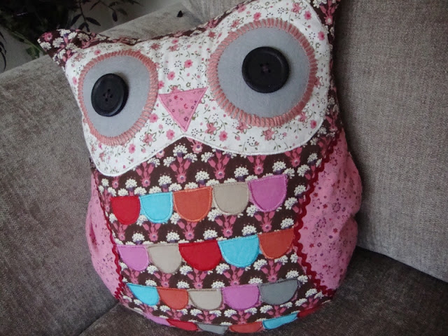 serene hearts multicoloured owl cushion