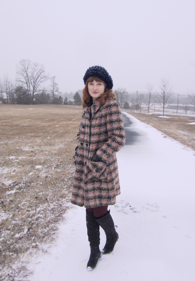 vintage pink plaid coat