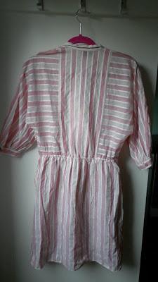 mesfringues vintage elbise pembe koton cizgili