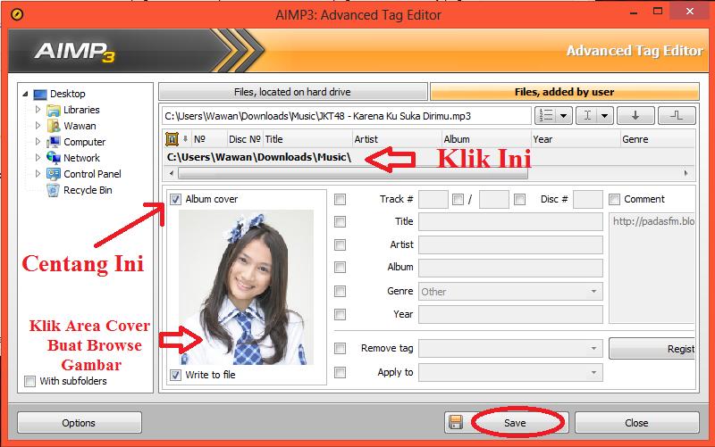 Jendela tag editor akan terbuka, klik path lokasi lagu , Centang Album