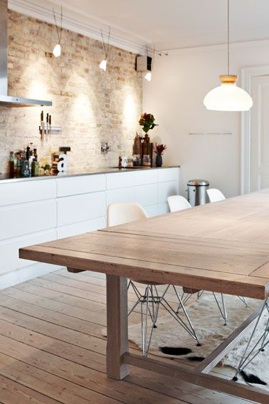 kitchen exposed brick white modern