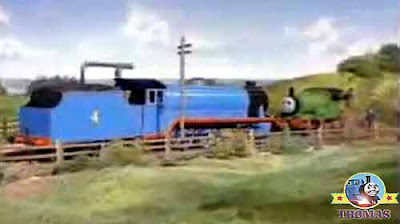 Big Gordon the train Percy the green engine ran away so quickly it stopped a nasty train accident