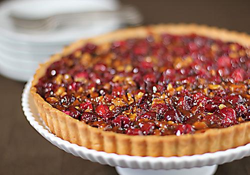 Cranberry and Caramel Walnut Tart