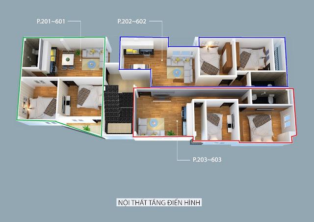 Mặt bằng tầng 2-6 chung cư mini Nhật Tảo 7 giá rẻ