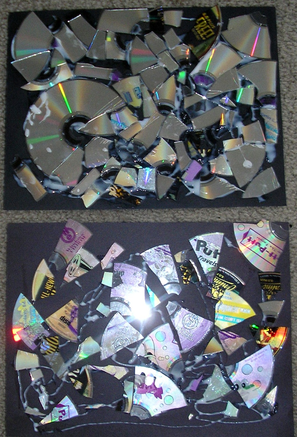 Time for play broken cd mosaics for Broken glass art projects