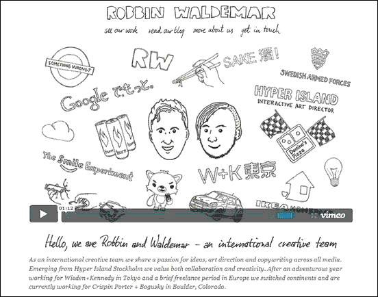 Robbin Waldemar - Website design using drawings and illustration