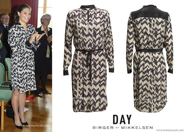 "The Crown Princess wore Day Birger et Mikkelsen Chevron silk blend dress. The dress retails for £330.00 on the ""Day Birger et Mikkelsen"" website."