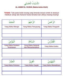 Lembar Kegiatan Belajar: Al-Asma'ul Husna
