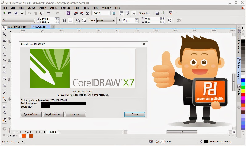 Tampilan CorelDRAW X7
