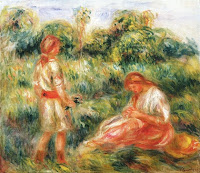 PIERRE-AUGUSTE RENOIR Femme et jeune fille dans un paysage c. 1916