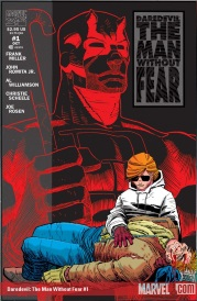 Cover of Daredevil #1, featuring a redheaded boy wearing dark glasses. He cradles the body of a dead man. The title and a red outline of a man wearing a horned superhero costume hover in the background.