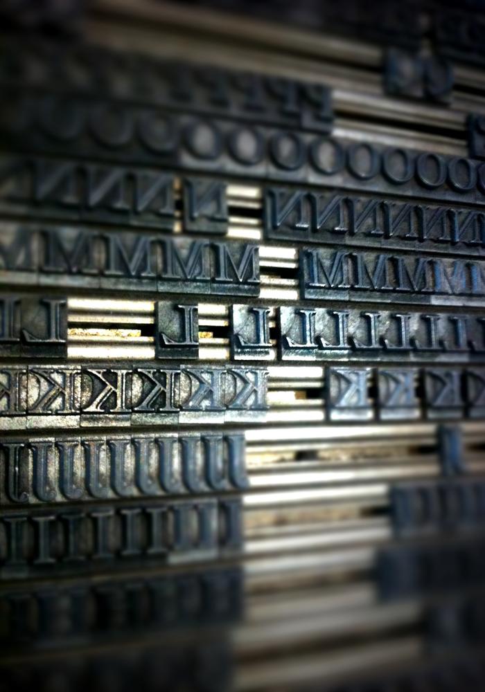 metal type at the National Print Museum, Dublin