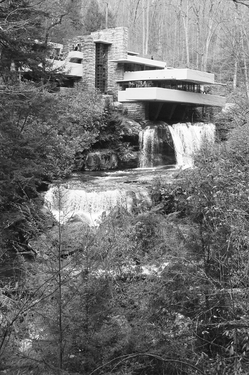 Black and White Frank Lloyd Wright Falling Water
