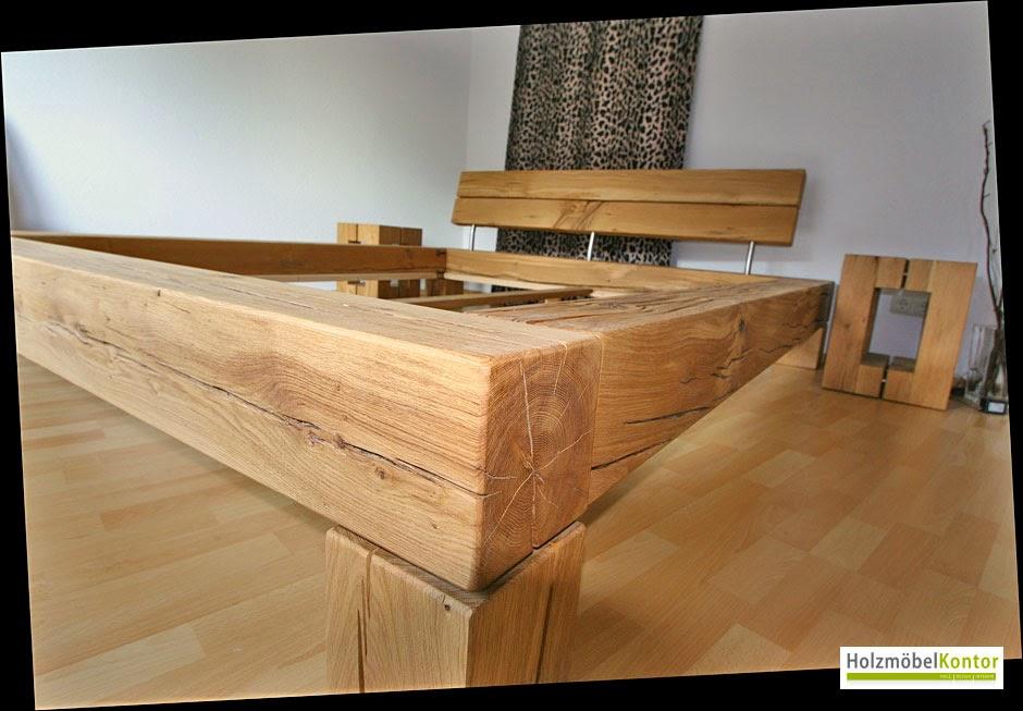 Balkenbett eiche  Wohnkantine - Wohnideen vom Holzmöbelkontor : Balkenbett Eiche live.