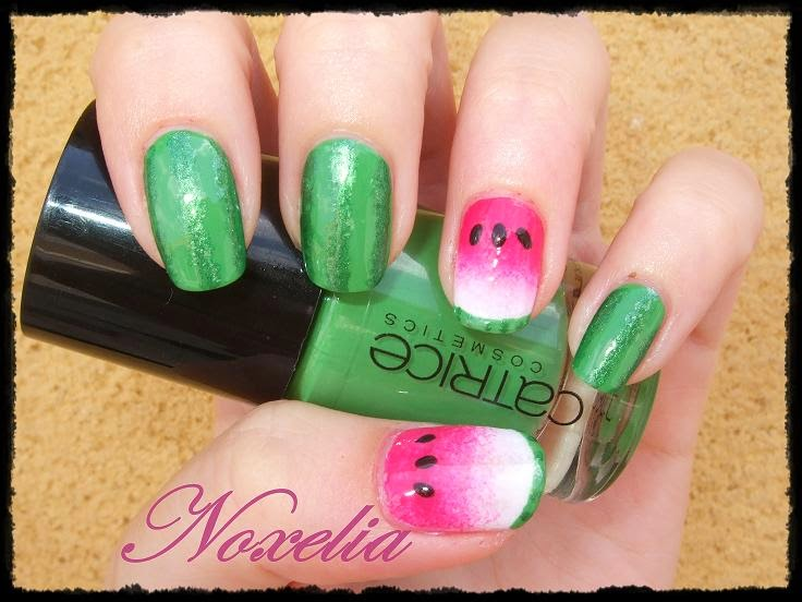 Noxelia: Stamping nail art: Look de uñas Nº 187. Watermelon Nails