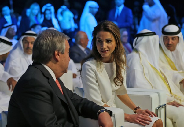 Queen Rania Al Abdullah took part today in the first regional conference on refugee children in the MENA region held in Sharjah, UAE.