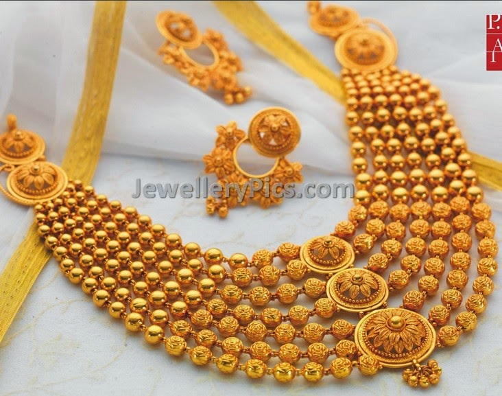 Stepped Contemporary gold beaded necklace