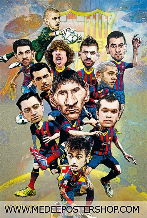 Barcelona Cartoon Poster 2014