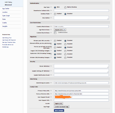 Advance setting of application dashboard