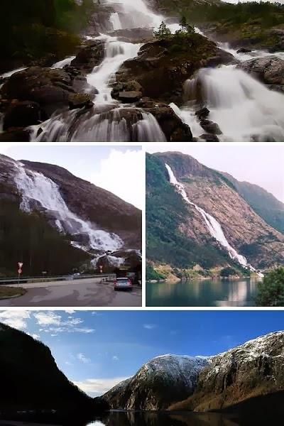 تقع في هورادلاند، غرب النرويج، شلال لانج تهْبطُ قطراته من ارتفاع 2,008 قدم (612 متر) قَبْلَ أَنْ تَقْفزُ إلى أكرافجوردن akrafjorden. ولأن الطريقَ الأوروبيَ E134 يمتد على طول قاعدةِ الشلالِ، فالعديد مِنْ الناسِ الذين يسيرون على هذا الطريق يتوقّفون لالتقاط الصورِ ومشاهدة هذه الظاهرةِ الطبيعيةِ الرائعة والمهيبة؛ البعضِ يَعتبرونَه الشلالَ الأكثر جمالاً في العالمِ.