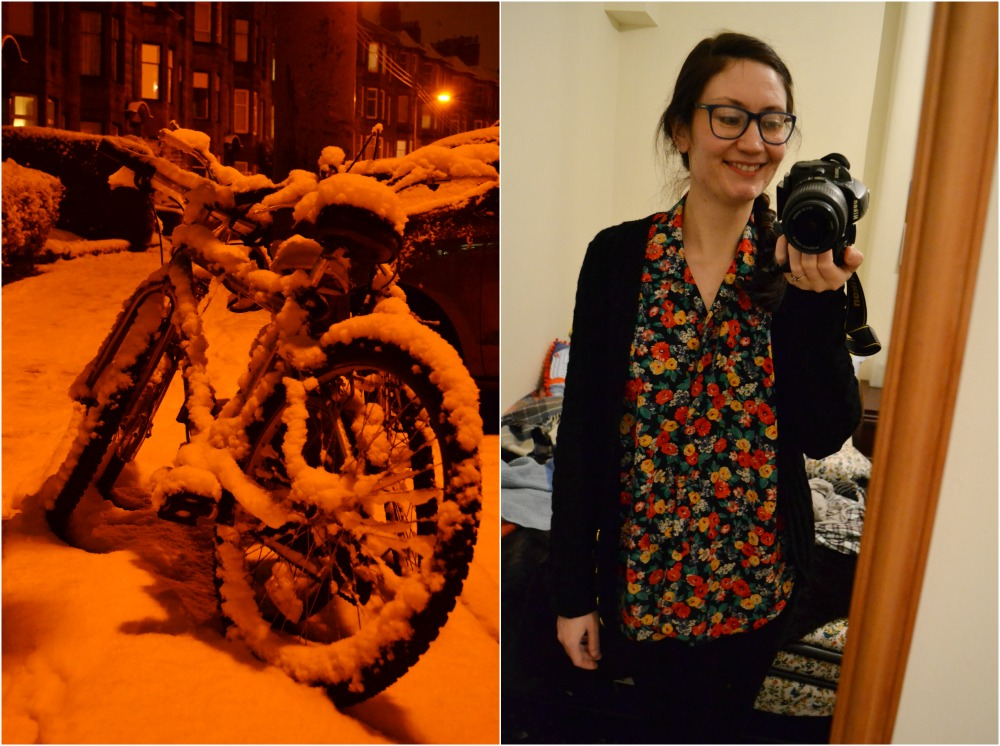 bikes snow floral vintage blouse hand knitted cardigan