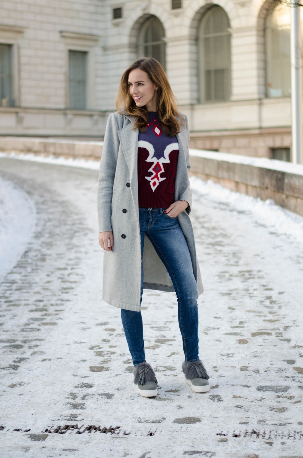 kristjaana mere gray wool coat bordeaux sweater fur sneakers winter outfit