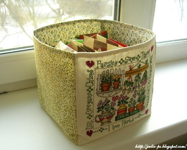 Jeremiah Junction designs, I love herbs, корзинка для специй, вышивка крестом, специи, коробка для специй