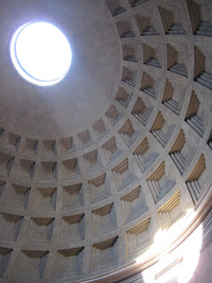 The inside of the Pantheon dome.  All the copper was stolen from the ceiling for St. Peter's Basilica.