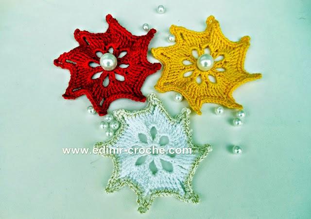 aprender croche estrelas coloridas natal azul vermelho amarelo edinir-croche pap dvd video-aulas loja curso de croche frete gratis