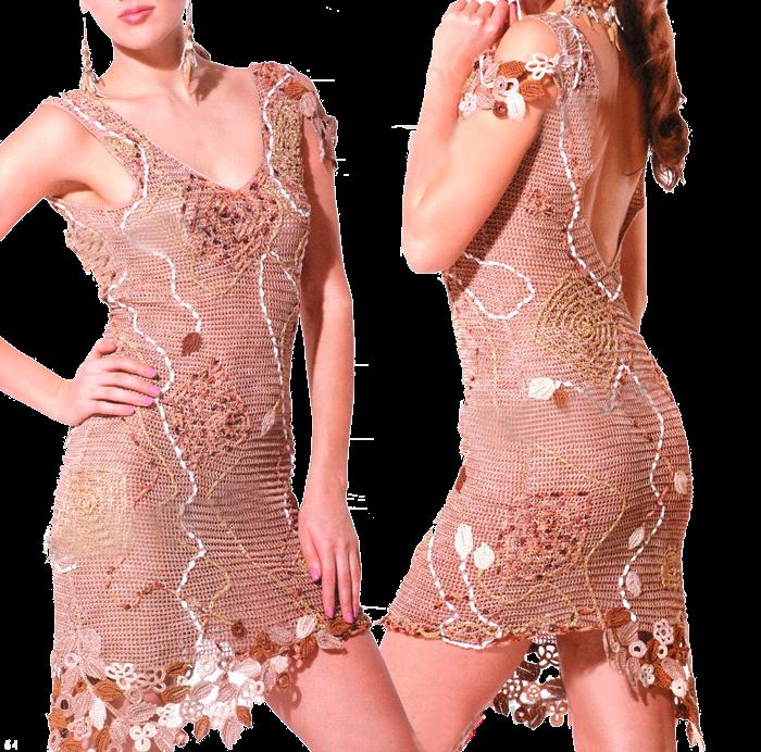 Изумительное открытое платье телесного цвета, связанное крючком в стиле ирландского вязания