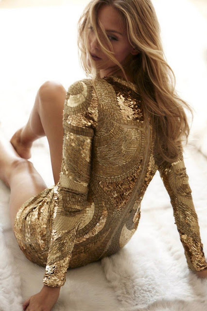 Sparkly, Gold Holiday Dress Details by Cool Chic Style Fashion