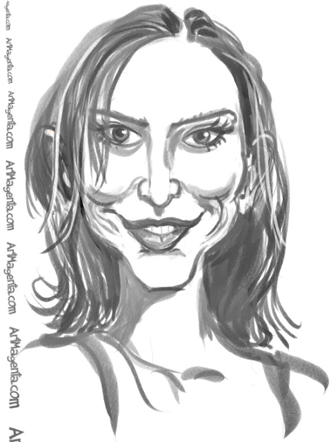 Calista Flockhart  caricature cartoon. Portrait drawing by caricaturist Artmagenta.