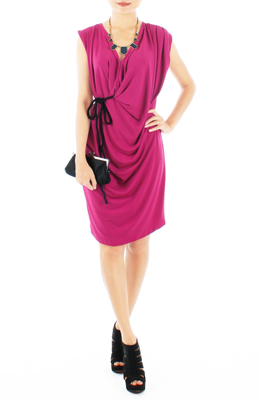 Wine Red Empyrean Drape Dress with Black Rope Belt