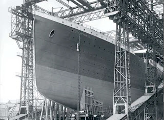 The Titanic under construction, real picture