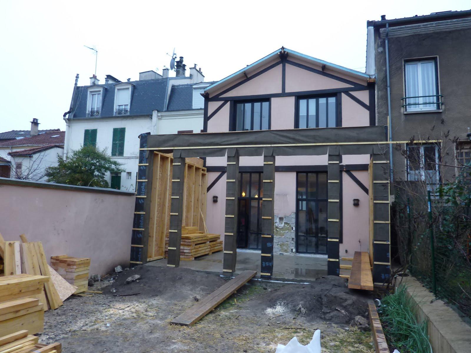 Chantier extension bois montreuil architecte maison bois for Architecte maison bois