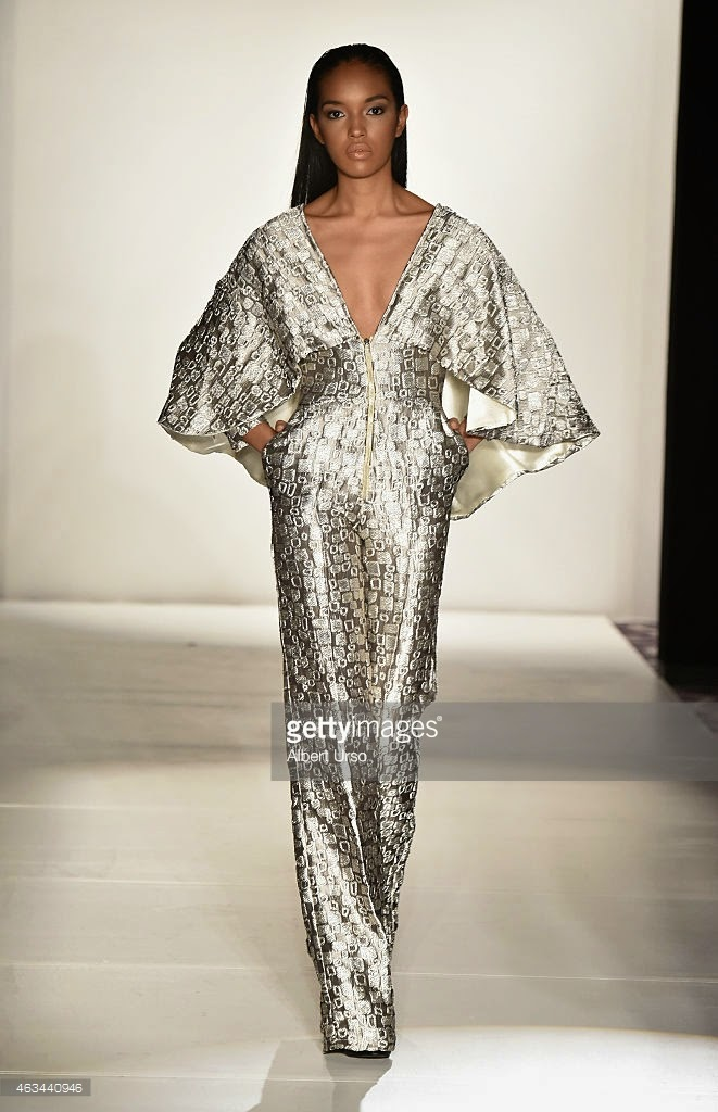 Ese Azenabor runway show, Ese Azenabor New York Fashion Week, NYFW, Fall Winter 2015 collection, New York runway shows, best looks NYFW, Mercedes Benz fashion week, black designer knee length gown, best runway reviews NYC