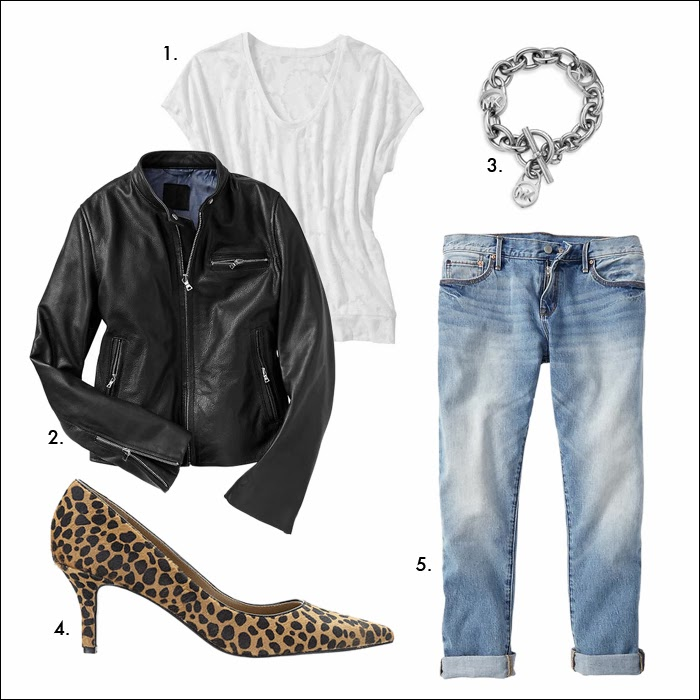 boyfriend jeans, white tee, moto jacket, gap, trend, fashion, outfit of the day