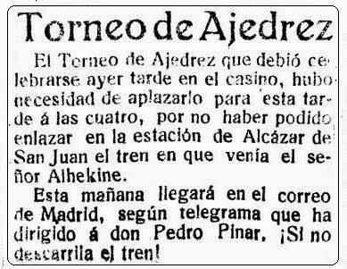 Sobre el viaje de Alexander Alekhine en La Verdad, 6 de junio de 1922