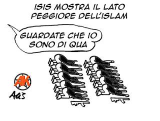 Isis, islam, religioni, in nome di dio, vignetta satira