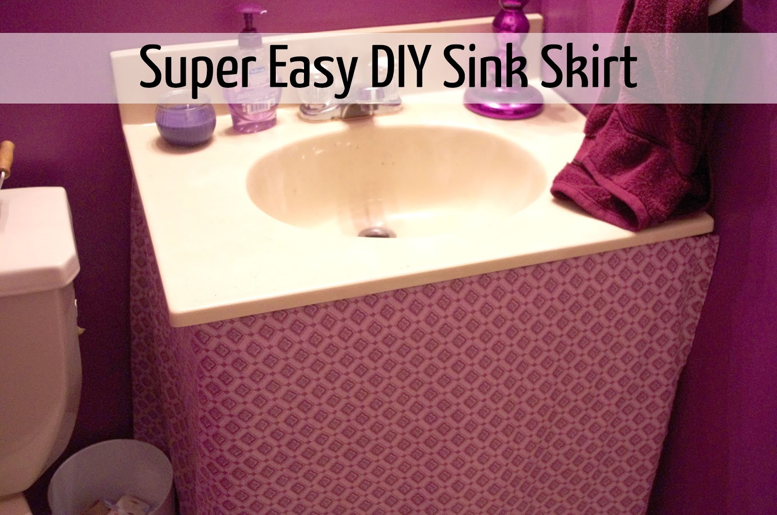 Simple Purple Bathroom Sink Skirt