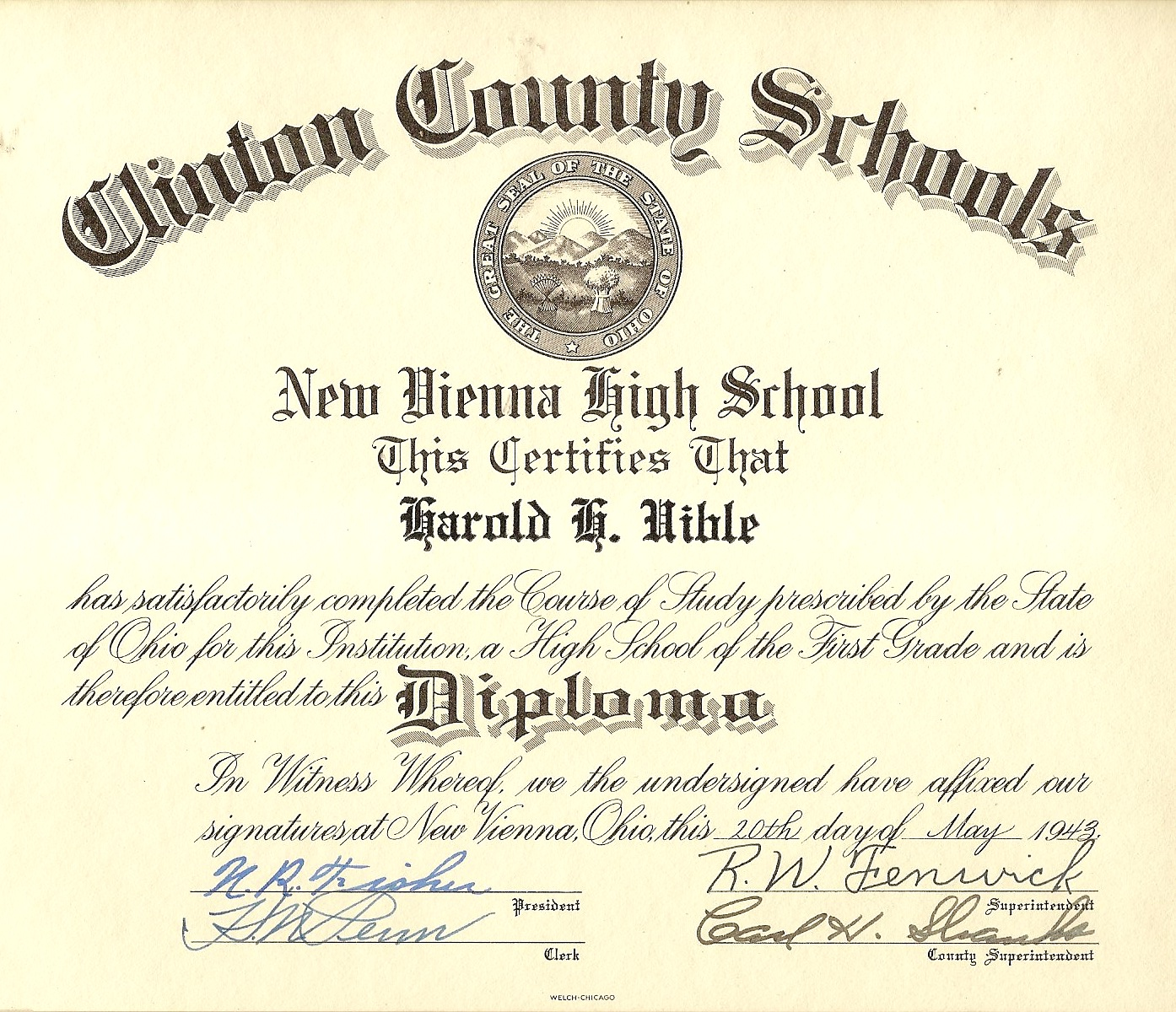 High Quality 1943 HH High School Diploma